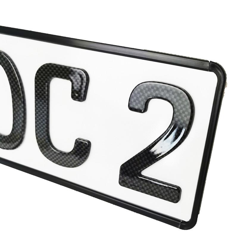 3D Kennzeichen Carbonoptik Hochglanz Kurz