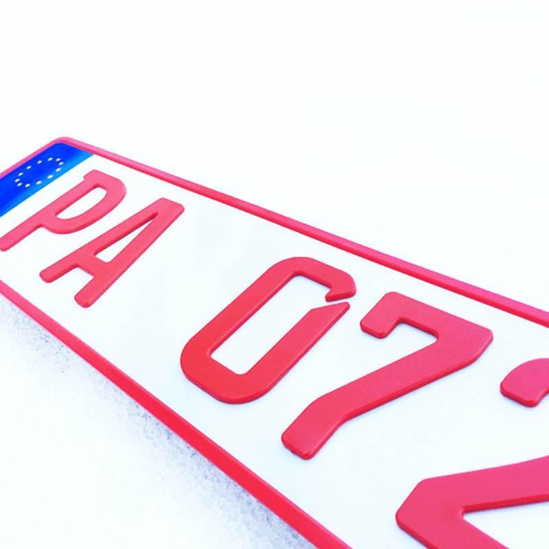 3D Händlerkennzeichen Rot 520 mm