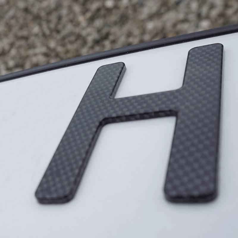 3D H-Kennzeichen Carbonoptik Hochglanz 520 mm