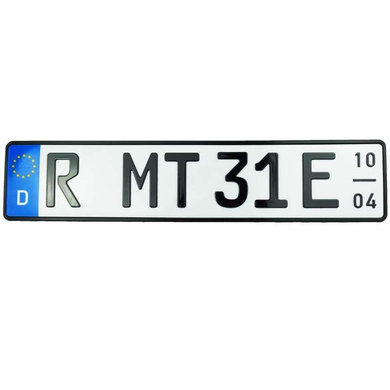 3D E-Kennzeichen mit Saison Hochglanz 520 mm