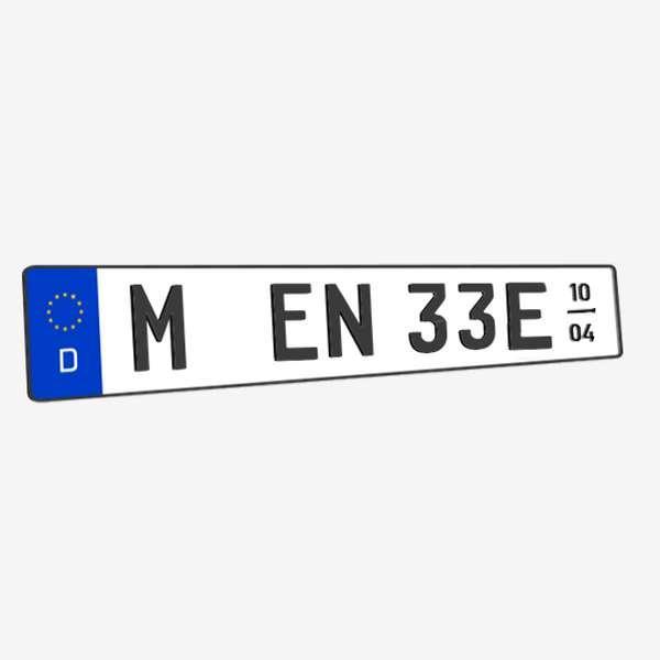 3D E-Kennzeichen mit Saison Matt 520 mm