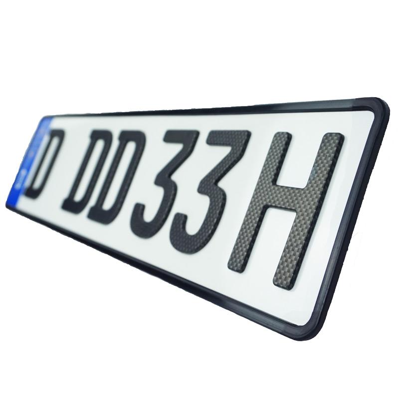 3D H-Kennzeichen Carbonoptik Matt kurz