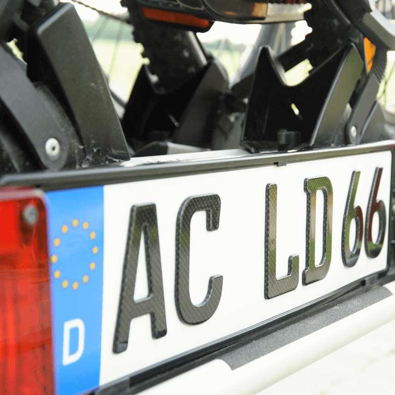 3D Kennzeichen für Fahrradträger Carbonoptik Hochglanz kurz
