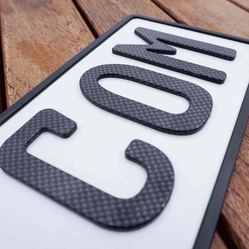 3D Namenskennzeichen Carbonoptik Hochglanz kurz