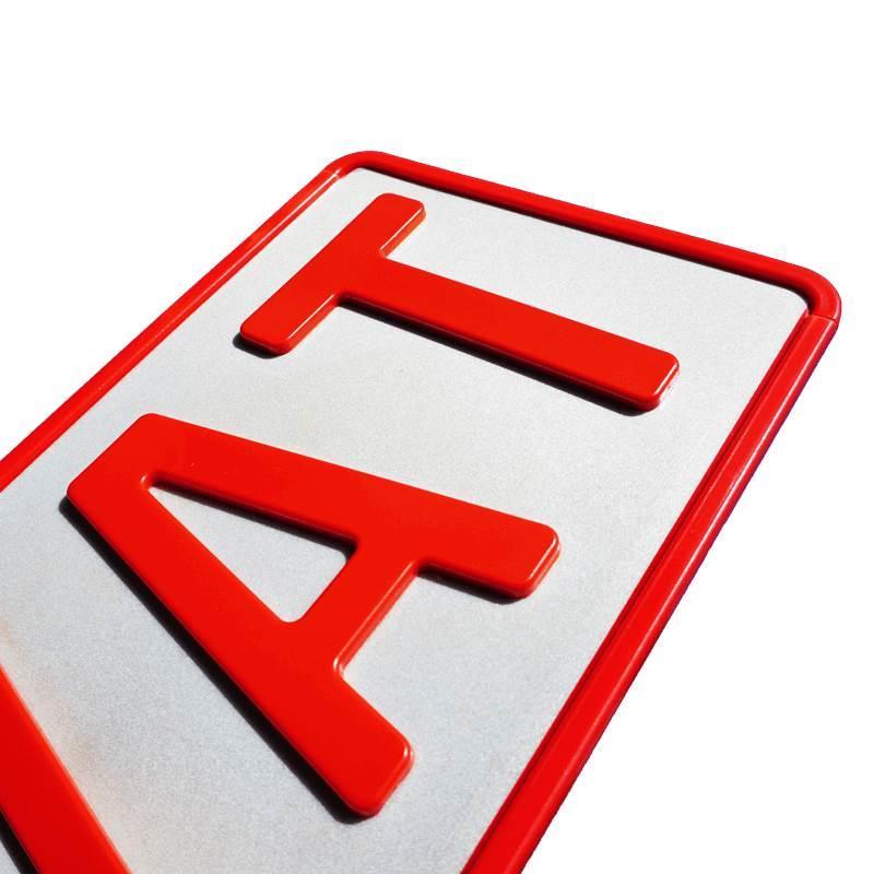 3D Namenskennzeichen Rot kurz