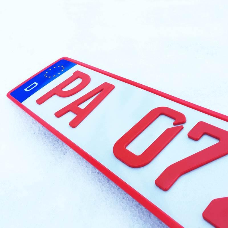 3D Händlerkennzeichen magnetisch Rot kurz