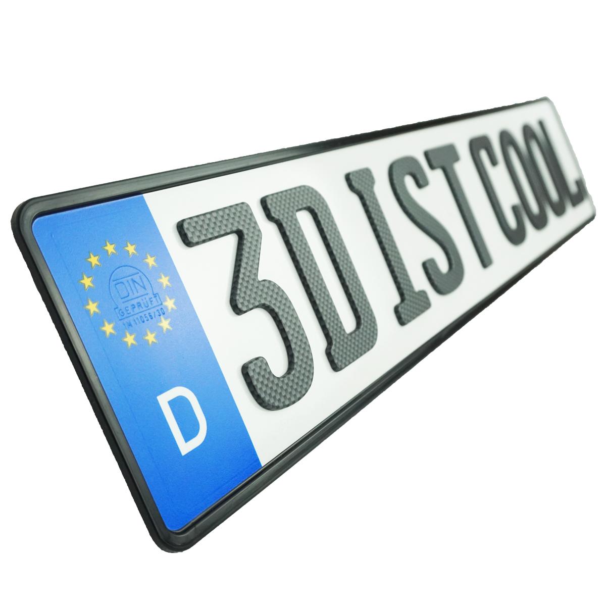 3D Namenskennzeichen Carbonoptik Matt 520 mm
