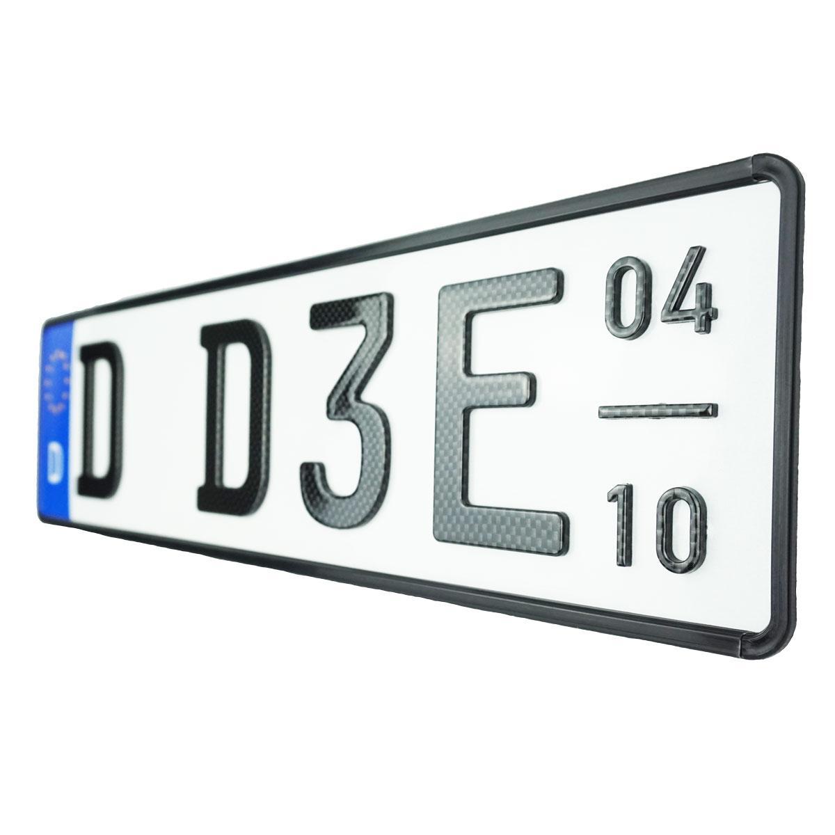 3D E-Kennzeichen mit Saison Carbonoptik Hochglanz Kurz
