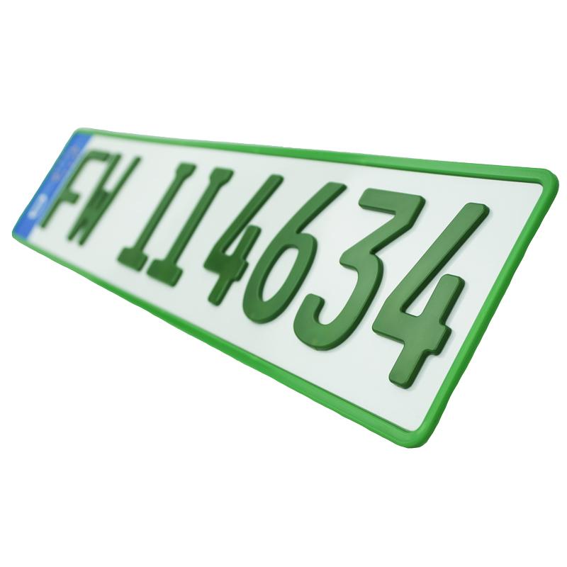 3D Kennzeichen Grün 520 mm