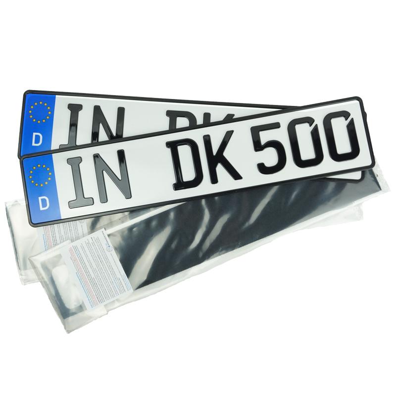 Spar-Set 3D Kennzeichen Hochglanz 520 mm