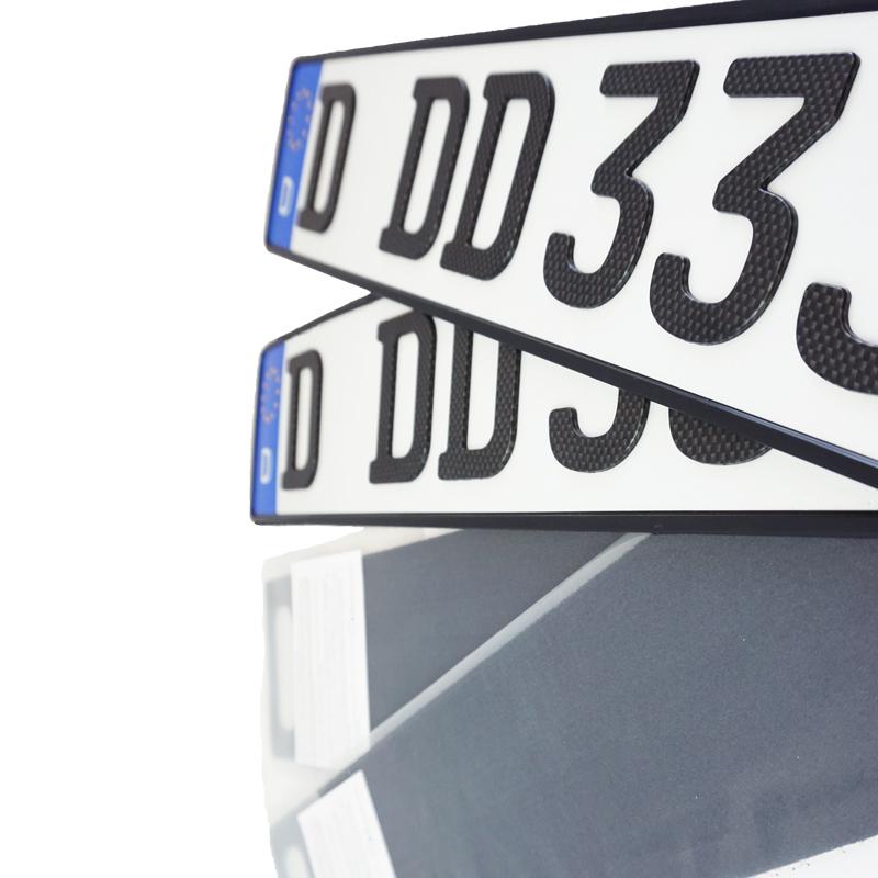 Spar-Set 3D Kennzeichen Carbonoptik Matt kurz