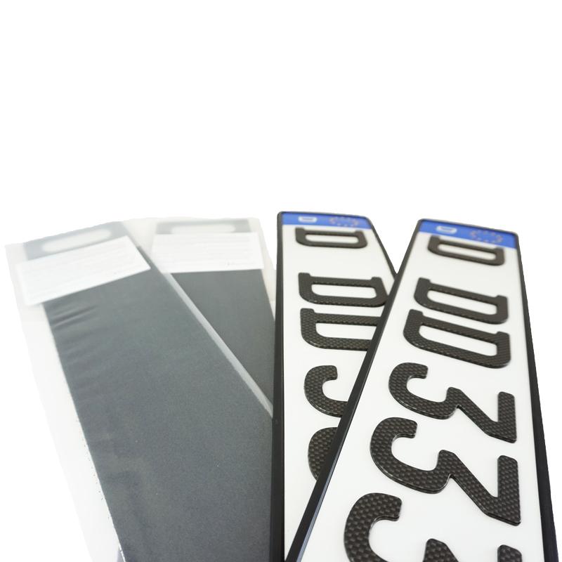 Spar-Set 3D Kennzeichen Carbonoptik Matt 520 mm