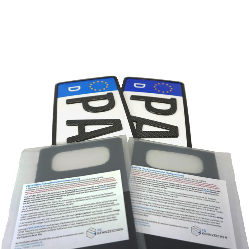 Spar-Set 3D Kennzeichen Carbonoptik Hochglanz 520 mm